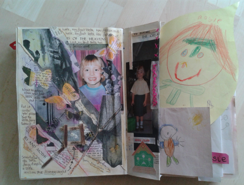 On the left is the page on a theme of losing that first tooth. I have used butterflies cut from old book pages, tissue paper, writing about the tooth fairy and a net made from a drink stirrer and scrim which actually holds the first lost tooth which I kept.