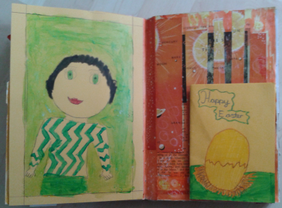 On the left is a fold out gallery of family portraits by my daughter. this one is me. On the right is a card she made on a background of a colour picture of the solar system cut into strips, mixed up and stuck on with gaps between which I have applied oil pastels and inks to create a new universe.