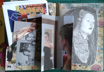 In the centre of this page is a photo of my daughter looking at herself in the mirror before her prom. By folding it in half it makes a good pop-out. Behind on the right hand side is a picture of Ophelia by my daughter, copied from a pre-Raphaelite painting by Sir John Everett Millais. I have stuck this onto tracing paper. Behind it you can see a decoupage background of sea creatures.