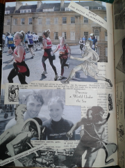 And now to university where my daughter took up marathon running through the historic city of Bath. you can see she is pursued by the Greek messenger Pheidippides running to Athens with news of the victory which became the inspiration for this athletic event, introduced at the 1896 Athens Olympics, and originally run between Marathon and Athens. Below she is pictured learning to deep sea dive surrounded by vintage diving pictures.