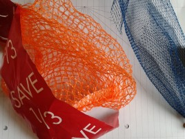 Use plastic netting bags from supermarket to create texture