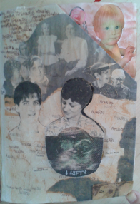 Opposite the inside cover, the first page is themed Ancestors and shows photos of relatives on tissue aged with pastels. The Mother (me) has a body made of a scan of a foetus on top of a flap which opens to reveal a baby in the womb. The top corner is cut to reveal a picture of Rosie.