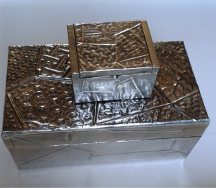 2 boxes: pewter repousse