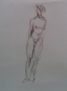 Leaning figure, charcoal and conte