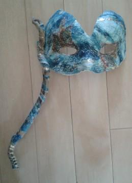 Mask: monoprint, pewter, driftwood