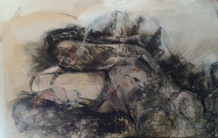 Torso: acrylic, charcoal, newspaper