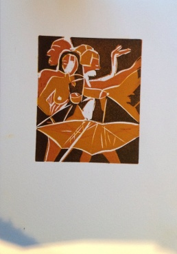 Rain Dance Lino cut