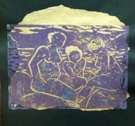 bathers linoprint with chine colle
