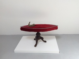 (Please Do Not Sit On) The Bacchae Museum Chair, Velvet, welded steel, horsehair, horn, piano stool